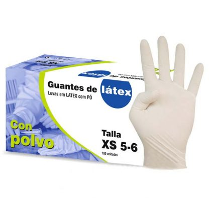 guantes de latex con polvo
